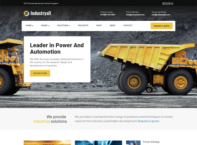 Industryall - top industrial website template