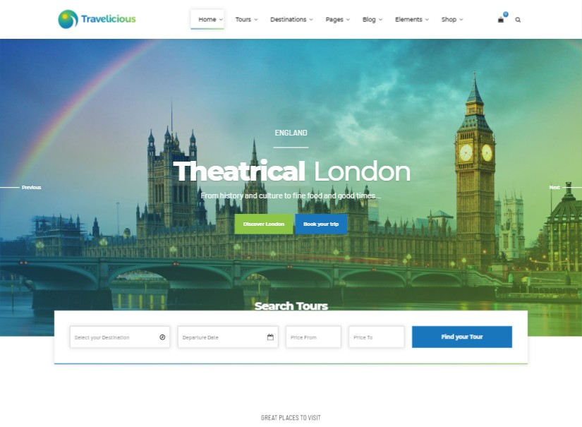 Travelicious - best tour and travel website templates