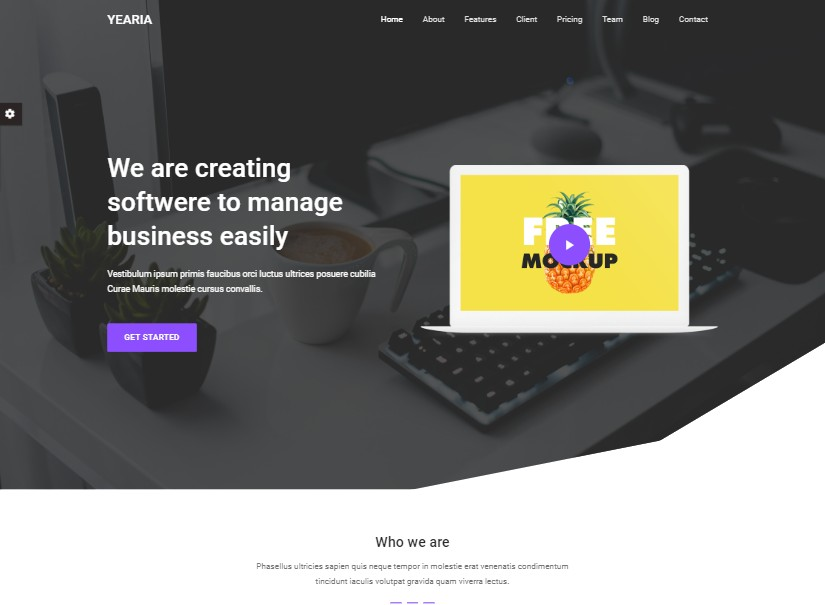 Yearia - landing page website examples
