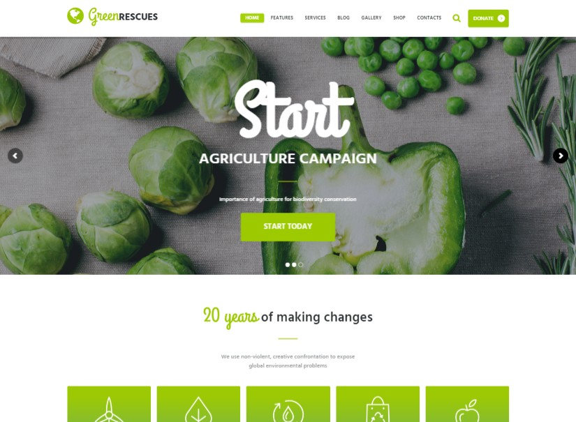 Green Rescues - best agriculture website theme