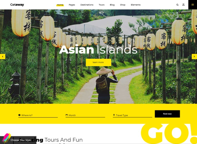 Getaway - best tour and travel website templates