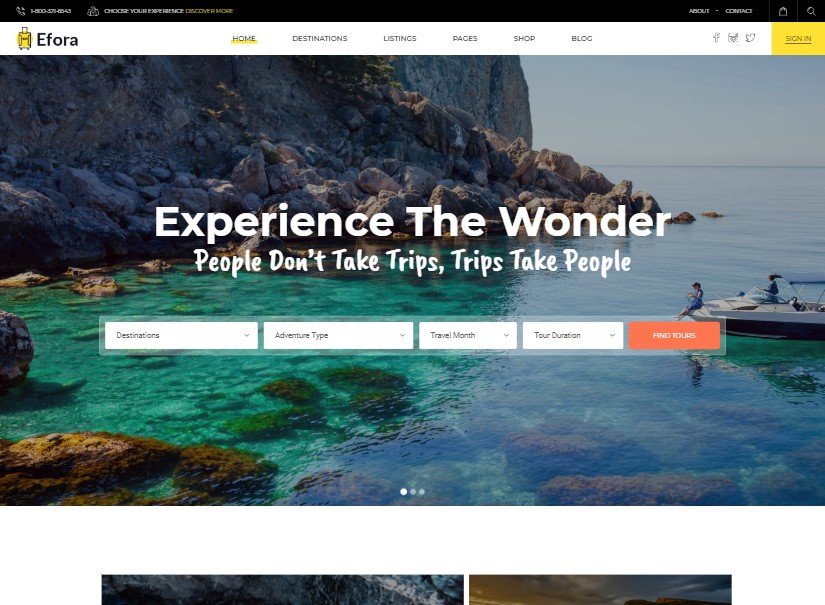 Efora - best tour and travel website design
